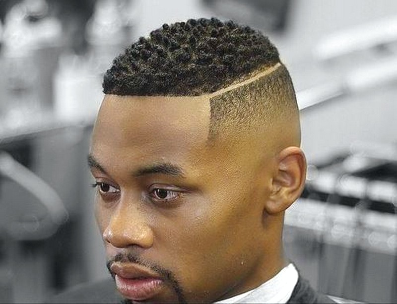 Black-MenS-Haircut-With-Part-Line Black Men'S Haircut With Part Line